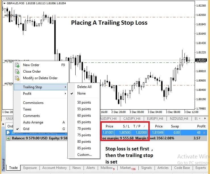 trailing stop loss MT4
